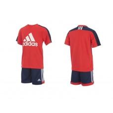 4底: Adidas 小童運動套裝 (紅拼深藍)