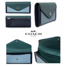 現貨: Coach 真皮長銀包 (藍拼綠)