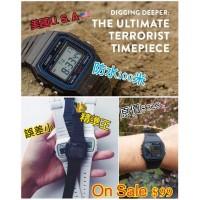 7底: Casio 黑色防水電子手錶 F-91W