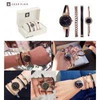 12底: Anne Klein 手錶連手鏈4件套裝 (黑藍色)