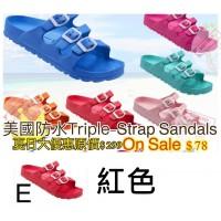 5底: Triple-Strap 超輕拖鞋 紅色