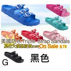 5底: Triple-Strap 超輕拖鞋 黑色