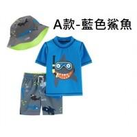 5底: Carters 1套3件泳衣套裝 A款-藍色鯊魚