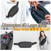 6底: Champion Waistbag LOGO+橫字腰包 (深灰色)