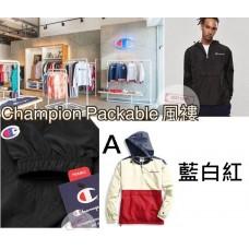 10底: Champion Packable 拼色風褸 A-藍白紅