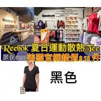 9底: Reebok 女裝夏日V領間條短袖上衣 黑色