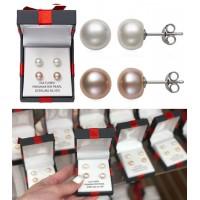 11中: Sterling Silver 1套2對純銀珍珠耳環 (白珍珠+粉紅珍珠)