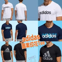 2底: Adidas 男裝短袖印花上衣 (黑色)