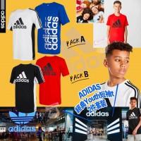 5底: Adidas 1套2件夏日中童短袖上衣 (藍色+白色)