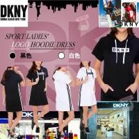 6中: DKNY LOGO女款短袖連帽衛衣長衫 (黑色)