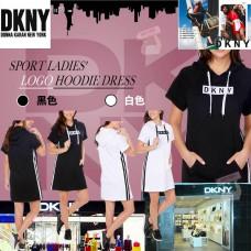 6底: DKNY LOGO女款短袖連帽衛衣長衫 (白色)