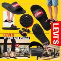 8底: Levis 男裝皮面拖鞋 (黑色紅LOGO)