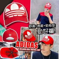 1中: Adidas Originals 白LOGO帽 (紅色)