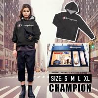 2底: Champion 中童草字有帽衛衣 (黑色)