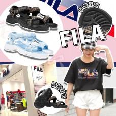 4底: FILA 花紋涼鞋 (藍白色)