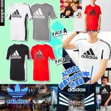 6中: Adidas 中童夏日短袖上衣2件套裝 (白配灰)