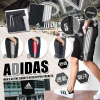 6中: Adidas Zipper Pockets 男裝運動短褲 (黑色灰邊)