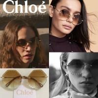 7底: Chloe 六角無框花紋太陽眼鏡 (啡色)