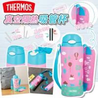 8底: Thermos 400ml 真空隔熱吸管杯連杯套 (粉紅配藍色)