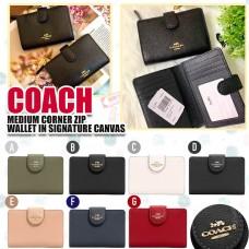10底: Coach Medium Wallet 純色單扣銀包